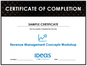 IDeaS RM Training Completion Certificate Sample